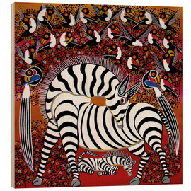 Bois  Zebra with a large flock of birds - Hassani