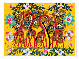 Poster Giraffes and flowers