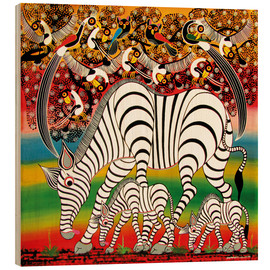 Tableau en bois  Zebra herd flock of birds - Chiwaya