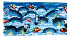 Tableau en verre acrylique  Blue Hippos in bathroom - Mrope