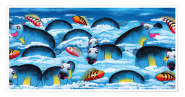 Poster  Blue Hippos in bathroom - Mrope
