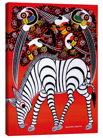 Tableau sur toile  The zebra with bird couple - Chiwaya