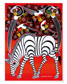 Poster The zebra with bird couple