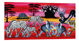 Tableau en PVC  Animals in the evening in the savannah - Chiwaya