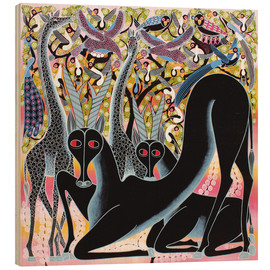 Tableau en bois  Antelope before the bird tree - Iddi