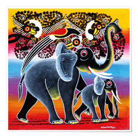 Poster Elephant with calf