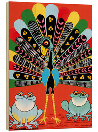 Tableau en bois  Colorful Peacock with frogs - Maulana