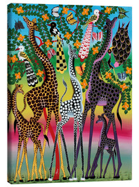 Tableau sur toile  Giraffes in African colors - Maulana