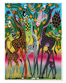 Poster Giraffes in African colors