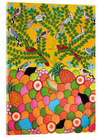Tableau en verre acrylique  Fruits and birds - Majidu