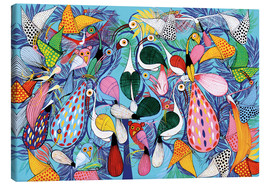 Tableau sur toile  A flock of birds with butterflies - Allyys