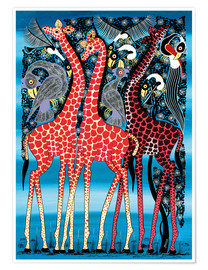 Poster Giraffes at night