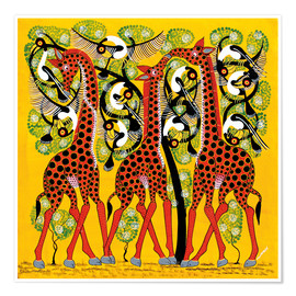 Poster Giraffe Trio and flock of birds