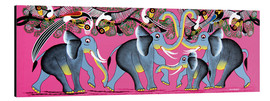 Tableau en aluminium  Elephant Herd with flock of birds - Chiwaya