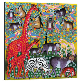 Tableau en aluminium  Animal groups on the big monkey tree - Iddi