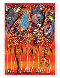 Poster Giraffe with peacock