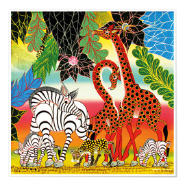Poster  African animals in the jungle - Chiwaya