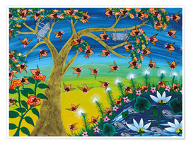 Poster  Bees on a tree - Majidu