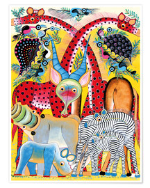 Poster  Colorful wild animals of Africa - Lewis