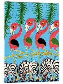 Tableau en verre acrylique  The Dance of the Flamingos - Maulana