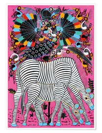 Poster  Zebra couple with magnificent flock of birds - Lewis