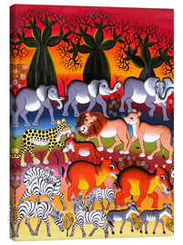 Tableau sur toile  Herd in the evening - Abdallah