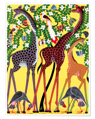 Poster Giraffes at noon