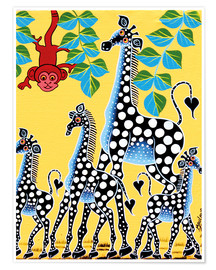 Poster Funny monkey with giraffes