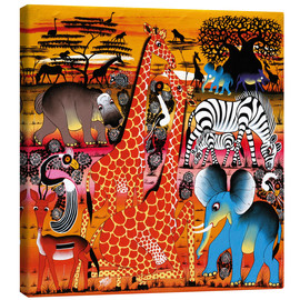 Tableau sur toile  Africa at sunset - Mrope