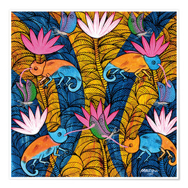 Poster Cameleons with butterflies