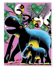 Poster  Black Hippo Mother and Child - Maulana