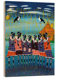 Tableau en bois  The tribal meeting - Majidu