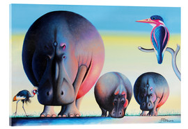 Verre acrylique  Hippo mother with cubs - Mkura