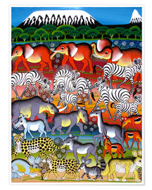 Poster Herd of animals on Kilimanjaro