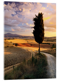 Verre acrylique  Sunset over Val d'Orcia, Tuscany - Matteo Colombo