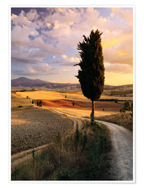 Poster  Sunset over Val d'Orcia, Tuscany - Matteo Colombo