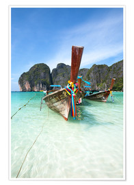 Poster  Decorated wooden boats, Thailand - Matteo Colombo
