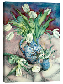 Tableau sur toile  Tulips and Snowdrops - Julia Rowntree