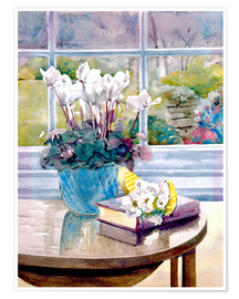 Julia Rowntree - Flowers and Book on Table