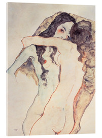 Verre acrylique  Two women in embrace - Egon Schiele