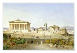 Poster  The Acropolis at Pericles' time - Ludwig Lange