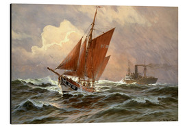 Tableau en aluminium  Sailors and steamboat on the North Sea - Willy Stöwer