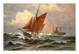 Willy Stöwer - Sailors and steamboat on the North Sea