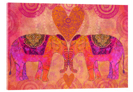 Tableau en verre acrylique  Elephants in Love - Andrea Haase