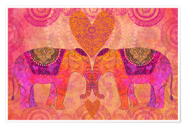 Poster  Elephants in Love - Andrea Haase