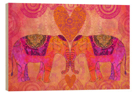 Tableau en bois  Elephants in Love - Andrea Haase