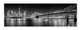 Poster New York and Brooklyn Bridge (monochrome)