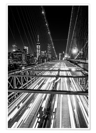 Sascha Kilmer - Traffic on Brooklyn Bridge - NYC (monochrome)
