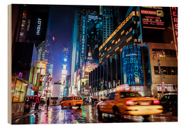 Tableau en bois  Broadway la nuit - New York City - Sascha Kilmer