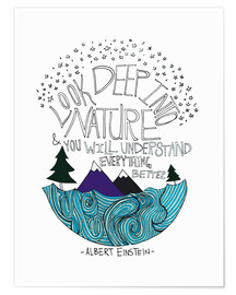 Poster  Einstein, Look deep into nature - Leah Flores